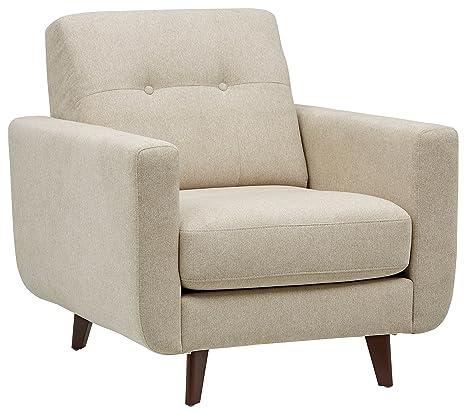 Marca Amazon - Rivet Sloane - Butaca capitoné de diseño estilo Mid-century Modern (marfil)