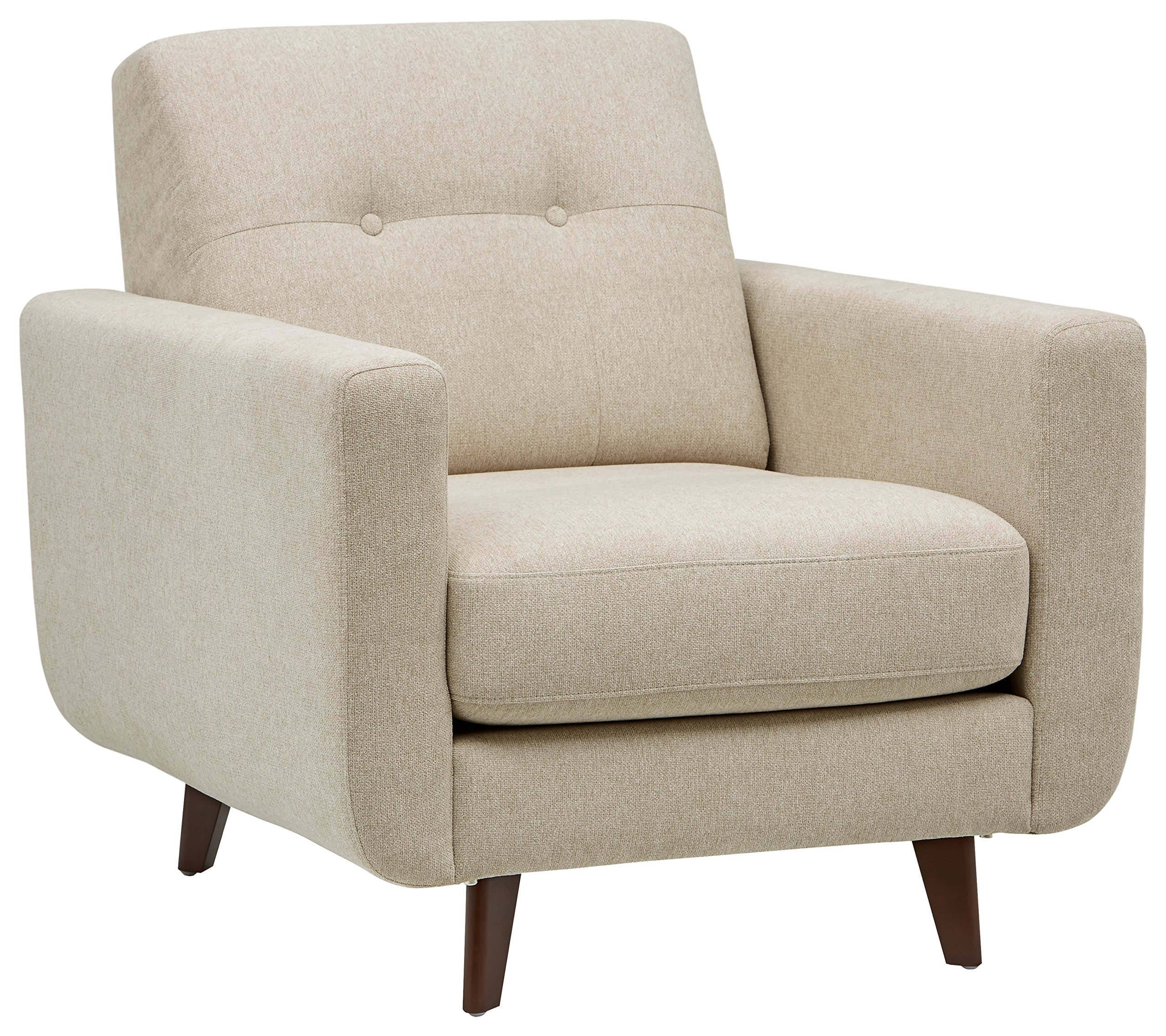 "Amazon Brand – Rivet Sloane Mid-Century Modern Armchair with Tapered Legs, 32.7""W, Shell - Impress your friends with this mid-century modern style. The u-shaped, curved silhouette of this chair, accented by hand tufting and buttons on the back pillow, will look smart in your living room or anywhere else a fashionable chair is needed. 32.7""W x 35.8''D x 33.1''H Hardwood frame with solid beech wood legs - living-room-furniture, living-room, accent-chairs - A19NYyUfucL -"