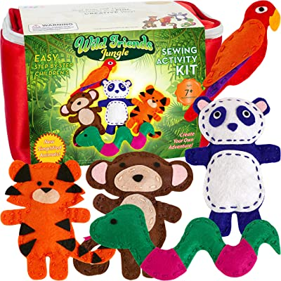 Four Seasons Crafting Kids Sewing Kit and Animal Crafts - Fun DIY Kid Craft and Sew Kits for Girls and Boys 120 Piece Set: Toys & Games