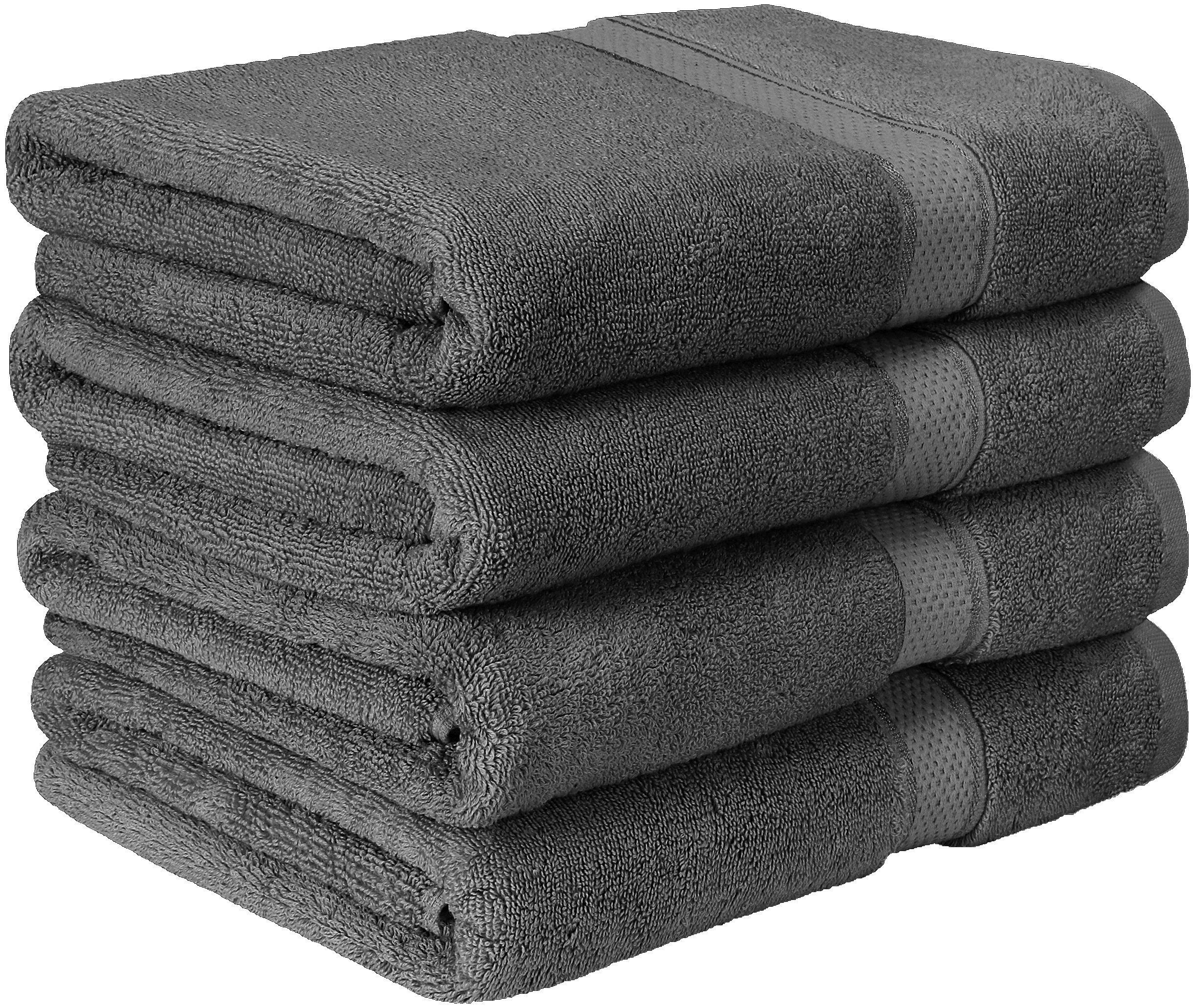 Utopia Towels Premium Bath Towel Set (Pack of 4, 27 x 54) 100% Ring-Spun Cotton Towels for Hotel and Spa, Maximum Softness and Highly Absorbent by (Grey)