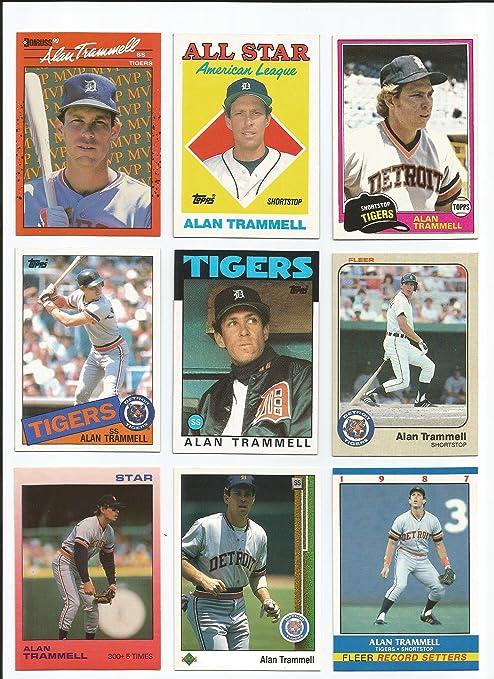 Alan Trammell 100 Different Baseball Cards Featuring Alan