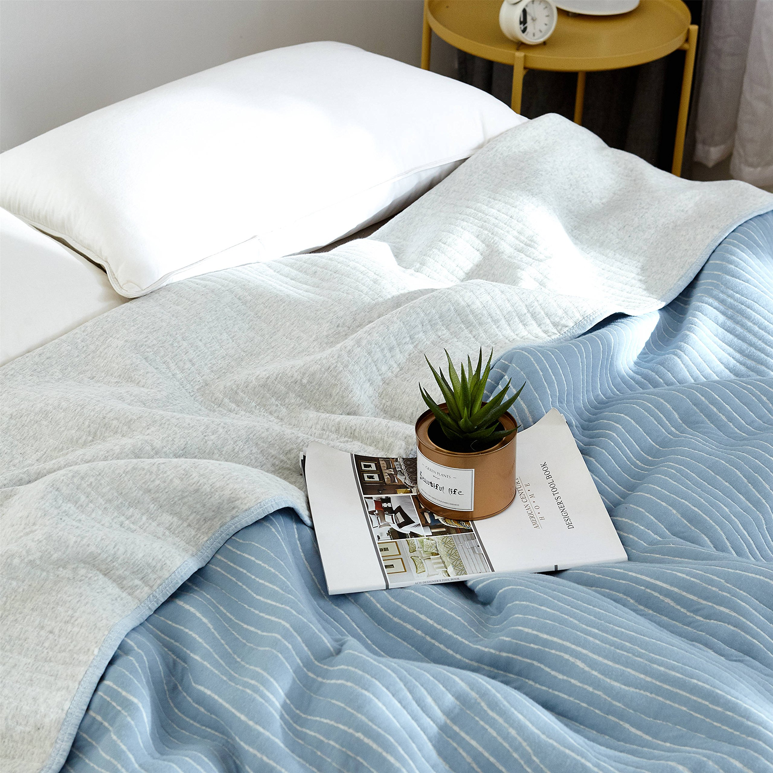 J-pinno Blue Stripes Jersey Cotton Cozy Quilt Reversible Throw Blanket Bedspread Bedding Coverlet for Kids Teen Boys Bed Gift (1, F/Q 78'' X 90'')