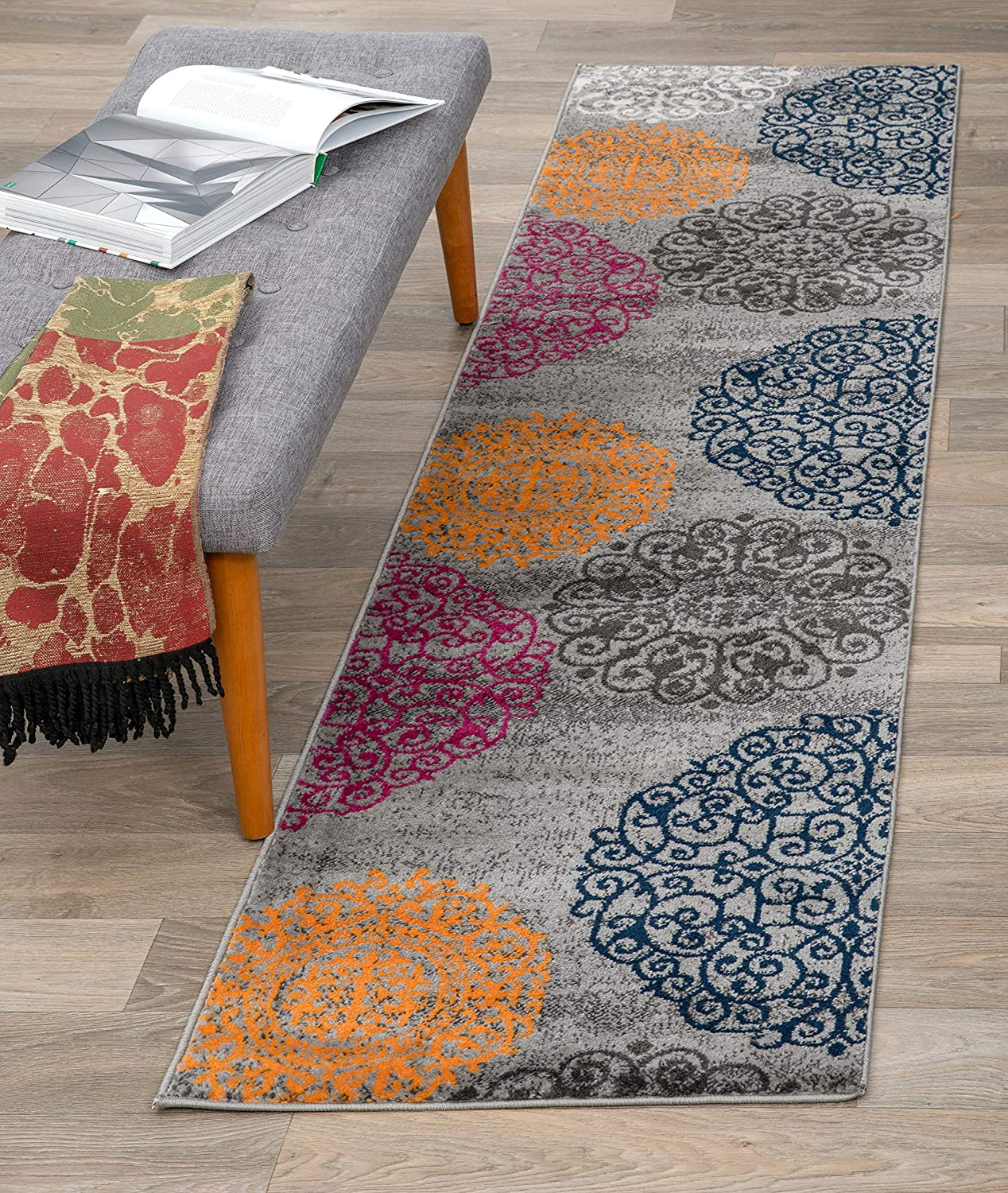 Black Rugshop Contemporary Modern Floral Area Rug 2 x 3