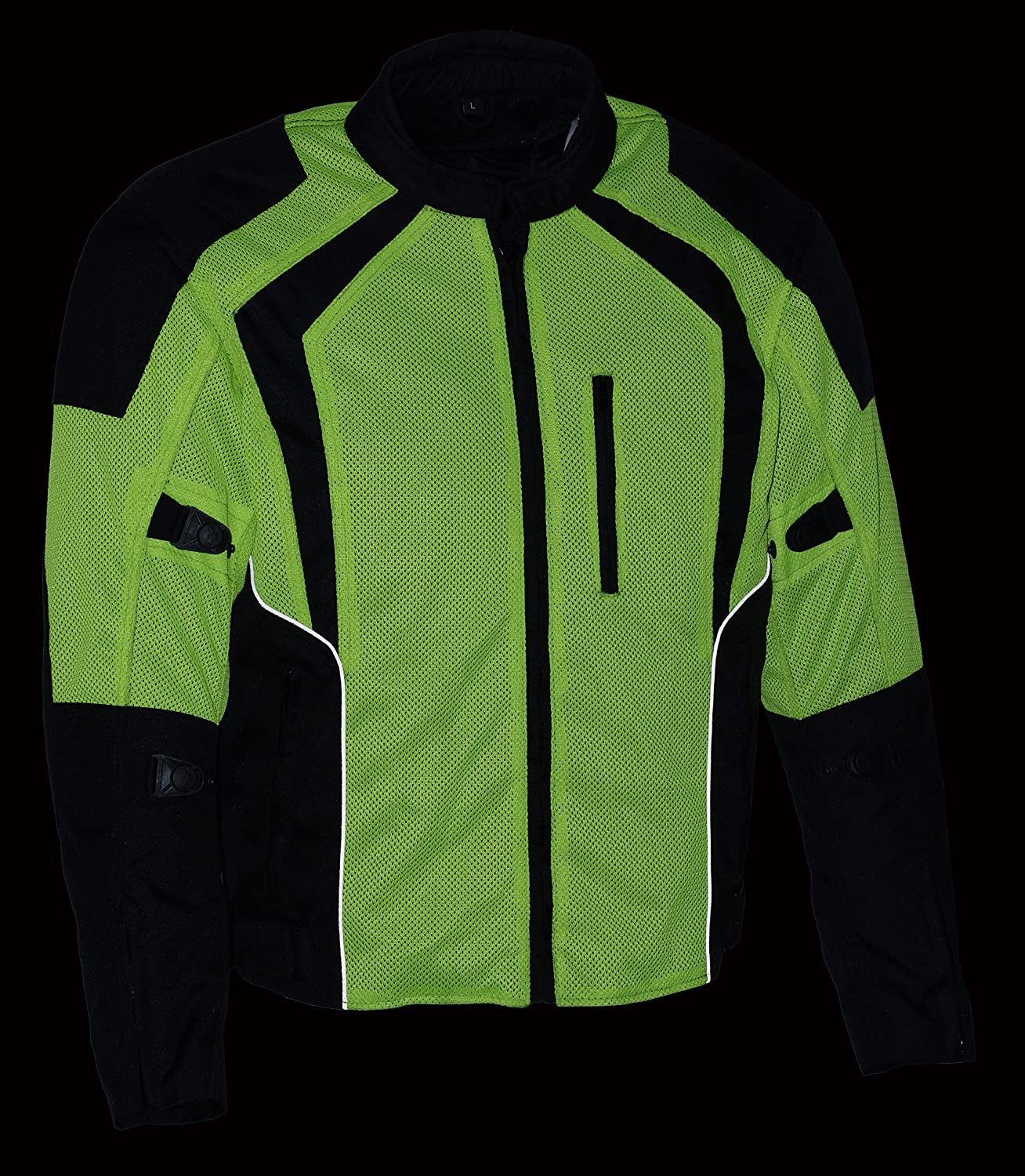 Milwaukee Performance Mens Nylon//Mesh Combo Racing Jacket with Armor BLACK//NEON GREEN, MD