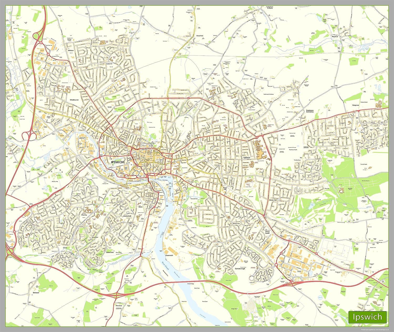 Ipswich Street Map Paper Size 190 x 160 cm APPROX Amazoncouk