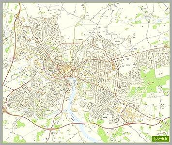 Ipswich Uk Map.Ipswich Street Map Paper Size 190 X 160 Cm Approx Amazon Co Uk
