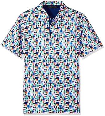 572d84957 Bugatchi Men's Soft Finish Trim Candy Digital Printed Polo Shirt, ...