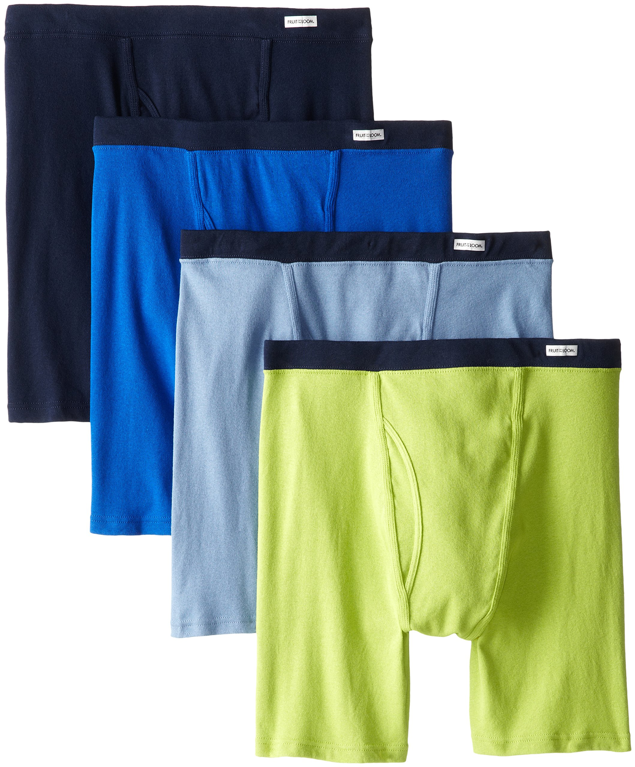 Fruit of the Loom Men's Covered Waistband X-Size Boxer Brief, Assorted, 3X-Large(Pack of 4)