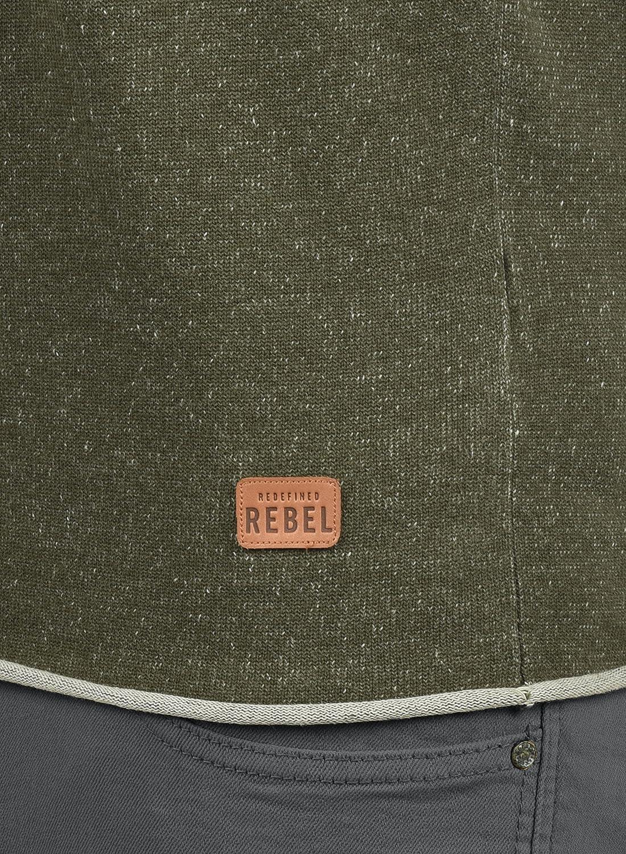 Redefined Rebel Maxen Cardigan Maglione Maglia con Bottoni da Uomo con Collo A V in Cotone 100/%