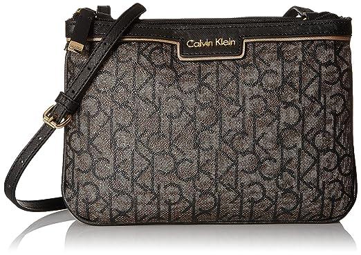 a3a7baa70b Calvin Klein Signature Crossbody, Text Khaki Black: Handbags: Amazon.com