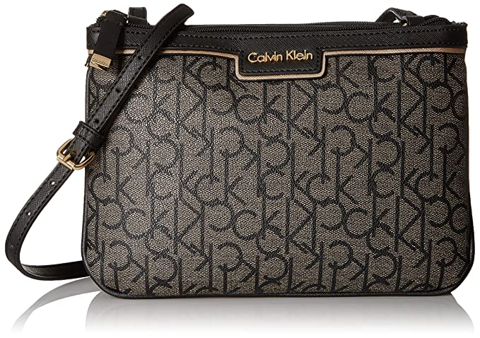 Calvin Klein Signature Crossbody, Text Khaki/Black/Black