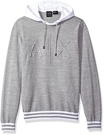 77ca29e23 Amazon.com: A|X Armani Exchange Men's Ax Logo Hoodie Sweater Knit ...