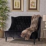 Leah Traditional Tufted Winged Black Velvet Loveseat