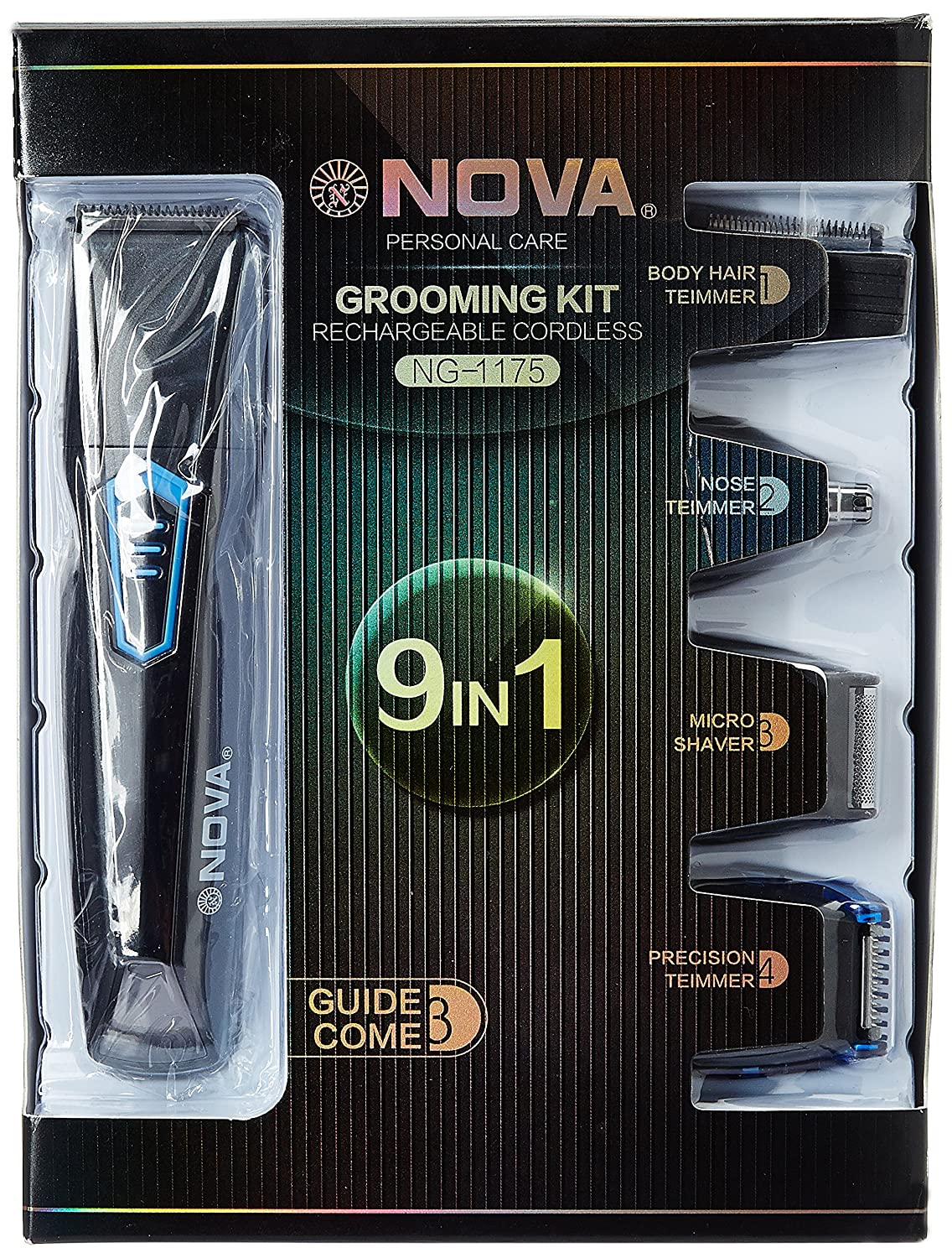 Nova 9 in 1 Grooming Kit  NG 1175  Grey  Men's Grooming Sets   Kits