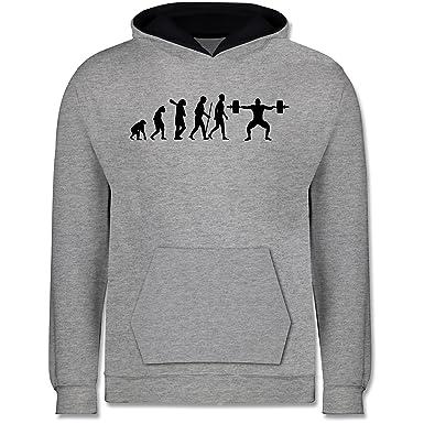 Evolution Kind - Gewichtheber Evolution - Kinder Kontrast Hoodie ...