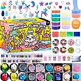 HSFTILV Unicorn DIY Slime kit Supplies-6 Cloud Slime6 Clear Slime3 Jelly Cube5 Unicorn55 Glitter4 Magic Clay with DIY…