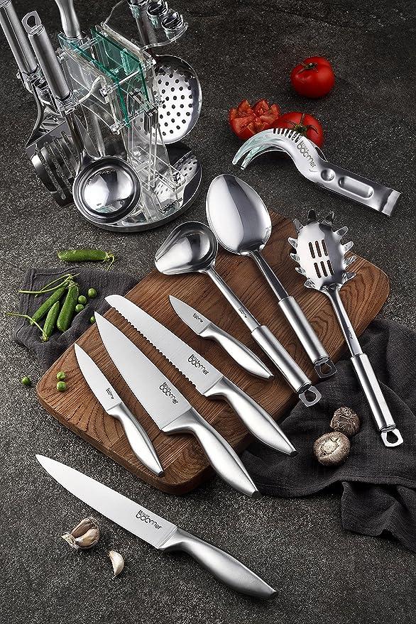 13 piezas de acero inoxidable de cocina y cuchillo ...