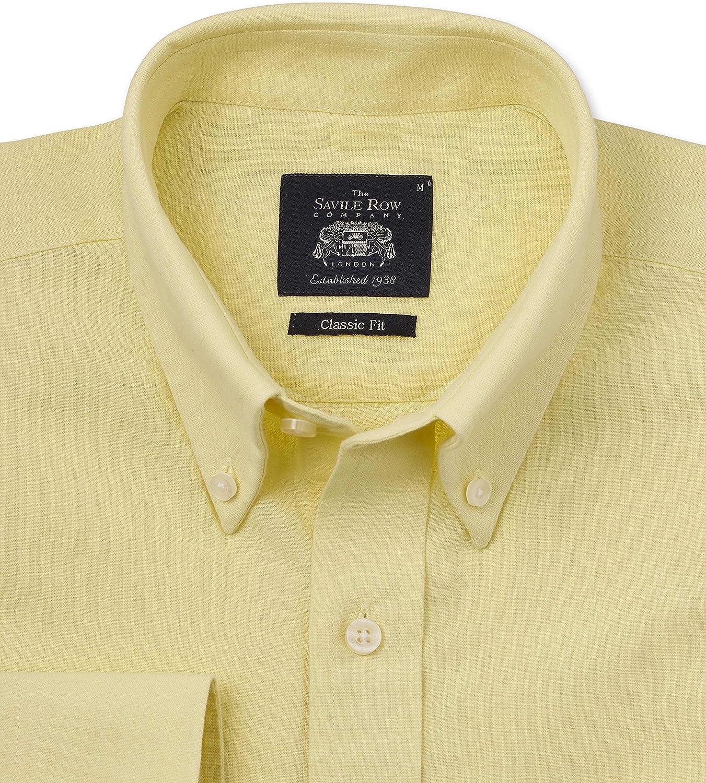 Savile Row - Camisa de manga larga para hombre, mezcla de lino, ajuste clásico con botones y cuello
