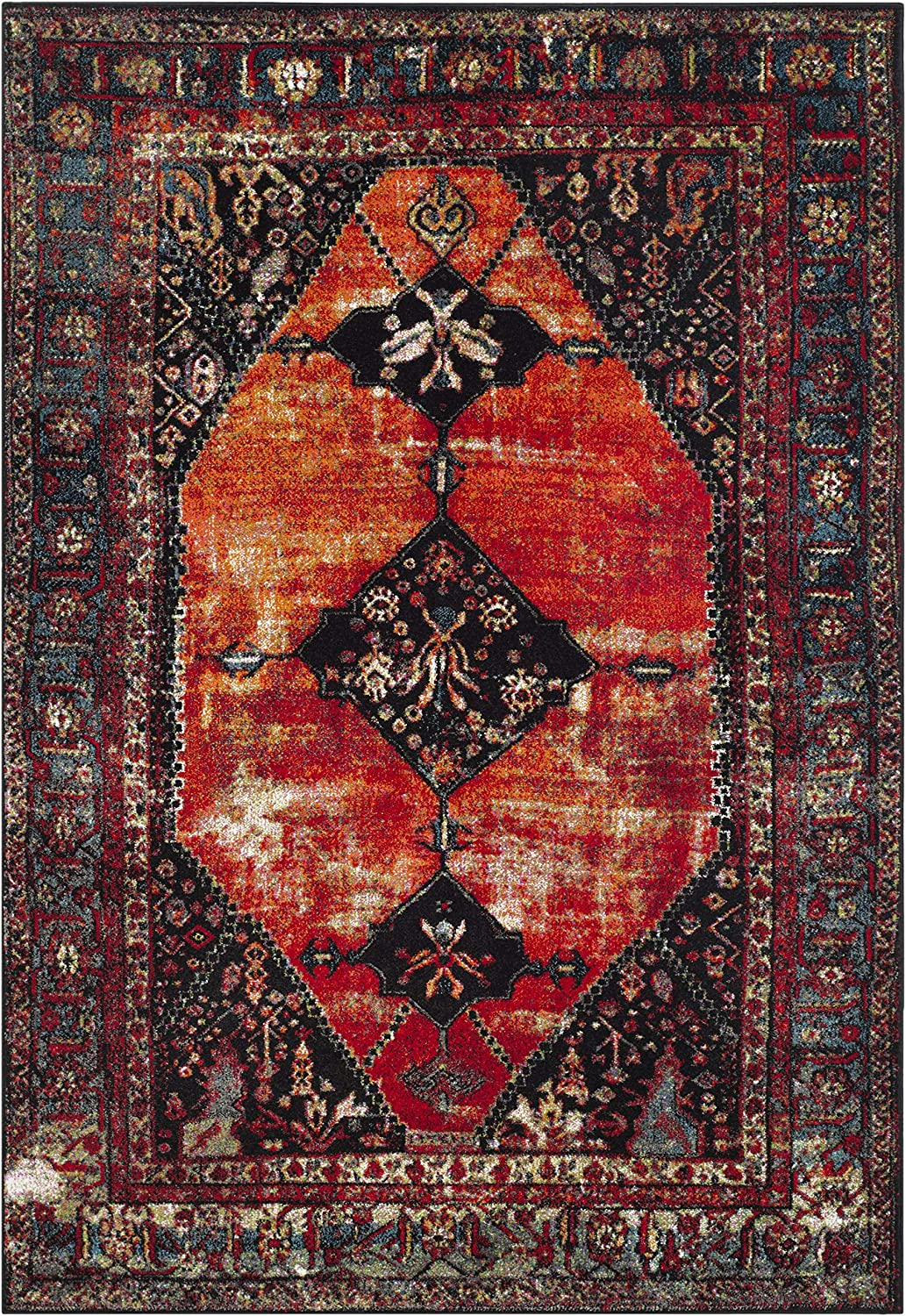 Safavieh Vintage Hamadan Collection Vth217b Oriental Antiqued Orange And Multi Area Rug 5 3 X 7 6 Amazon Ca Home Kitchen