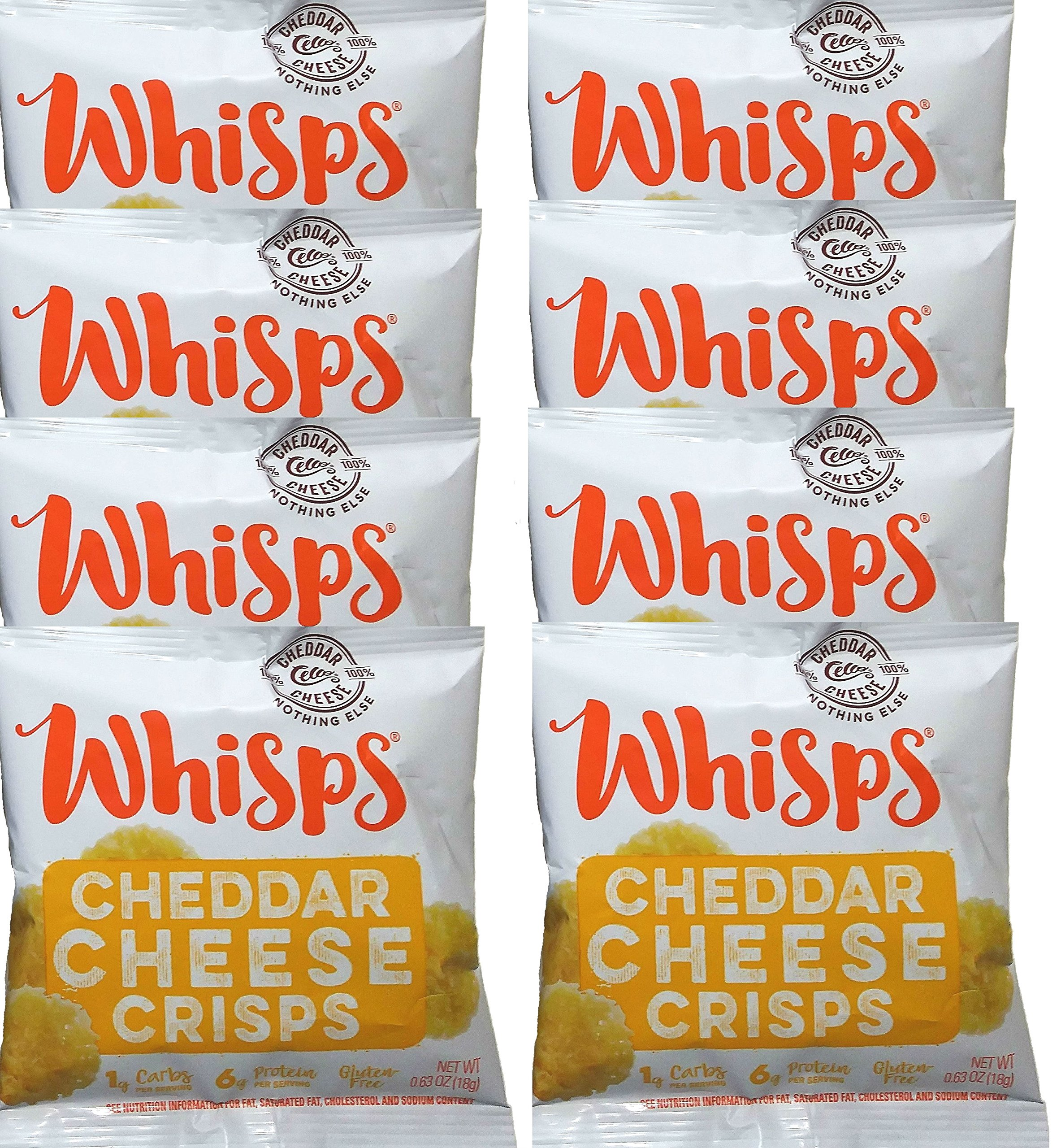 Whisps Cheddar Cheese Crisps, Single Serve Bags, Pack of 8 (.63oz/bag