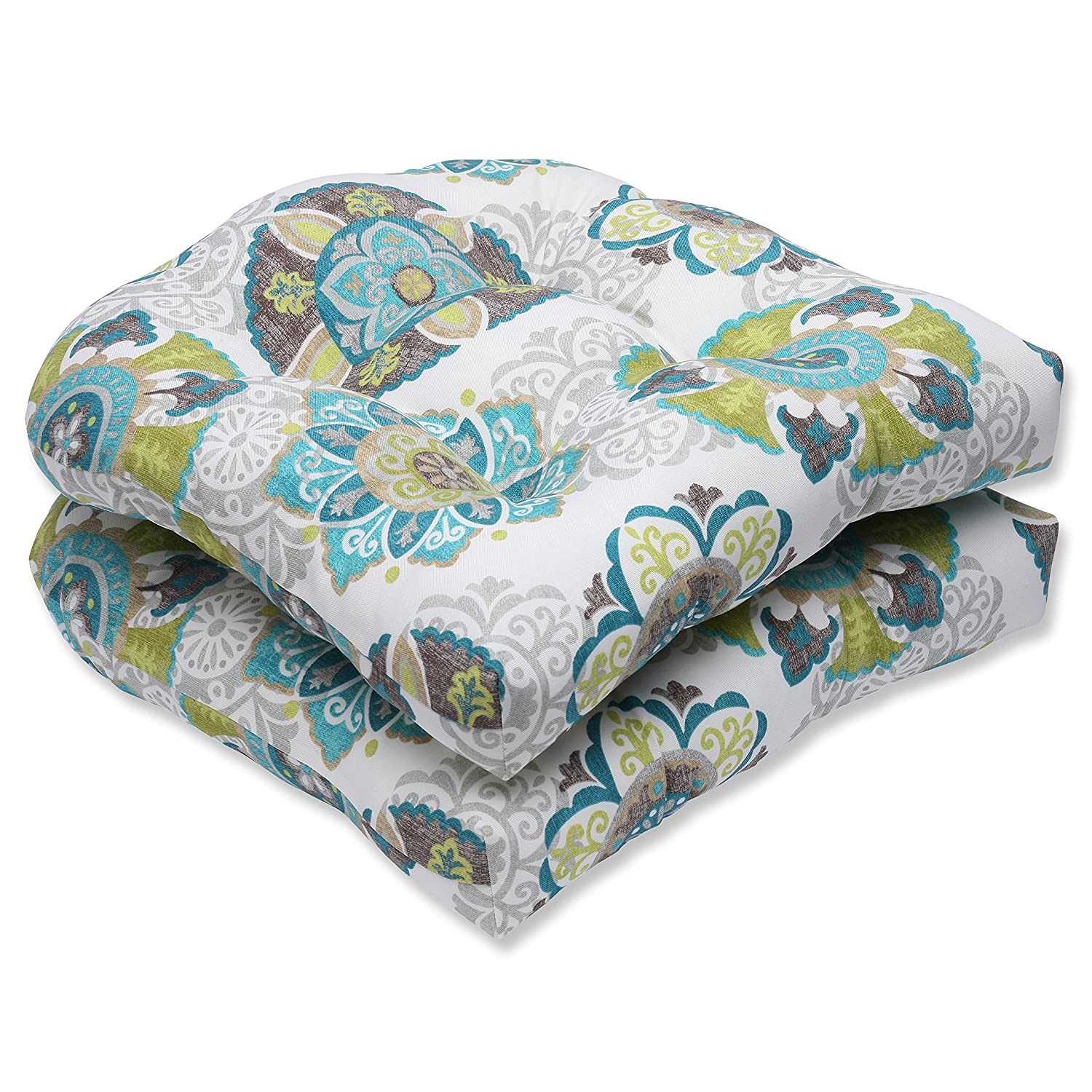 Pillow Perfect Outdoor Allodala Wicker Seat Cushion, Oasis, Set of 2