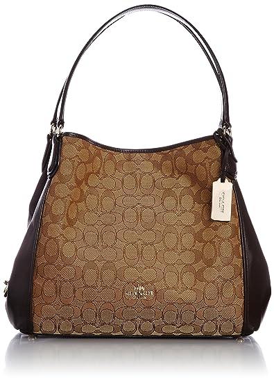 Coach Edie Signature Jacquard Shoulder Bag - Light Gold Khaki Brown  36466LIC7C  Amazon.ca  Watches 694dca1f4d888