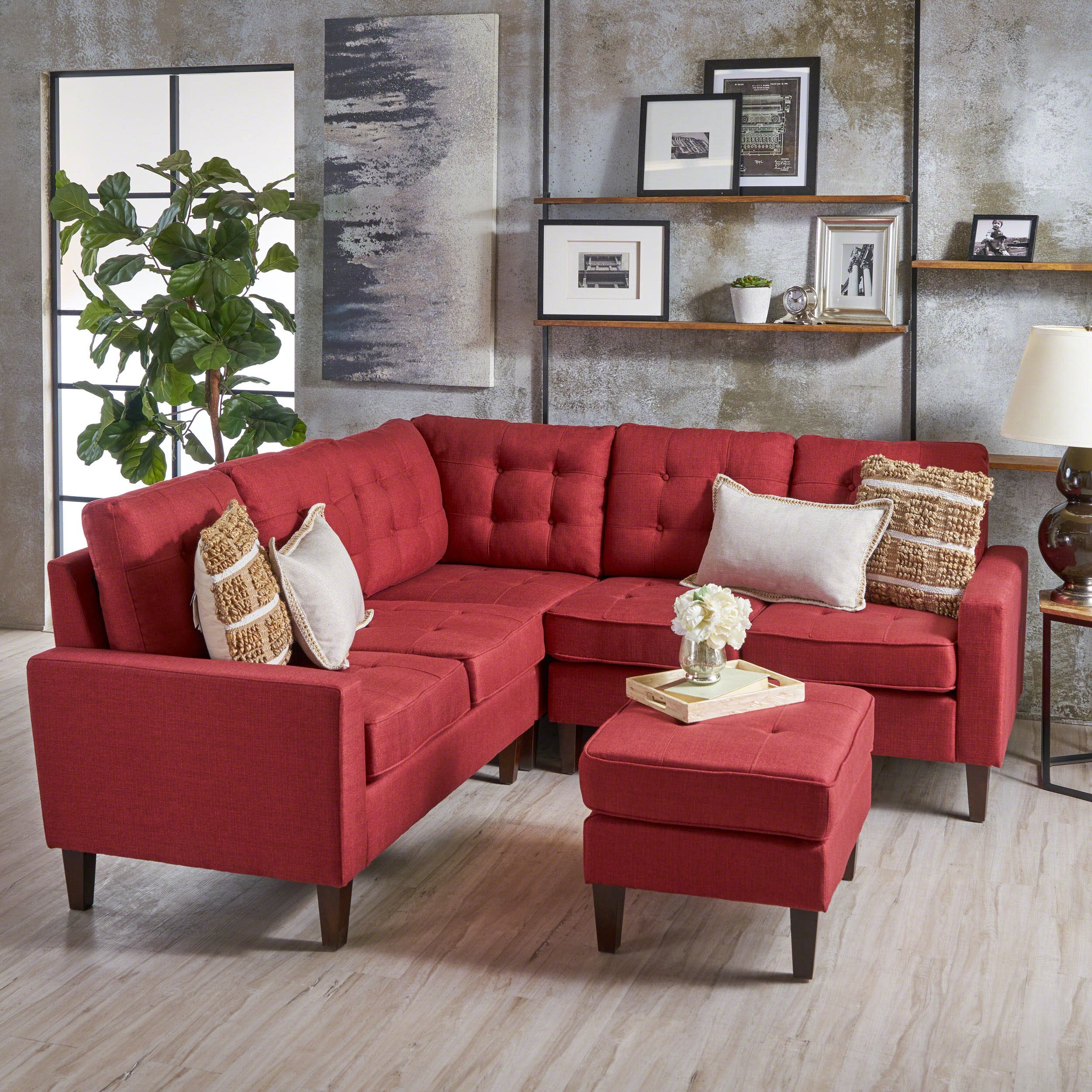 Niya Mid Century Modern Red 4 Piece Sectional Sofa with Ottoman by Christopher Knight Home