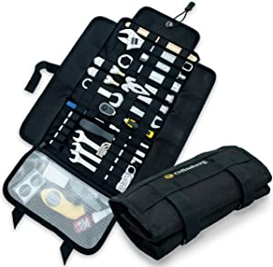 Heavy Duty Motorcycle Tool Roll Up Bag - with Tactical Modular MOLLE System - Tool Roll Organizer with 56 Loops and Pocket - Tool Roll Pouch Wrap for Wrenches and Screwdrivers - Tools NOT Included