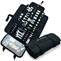 Heavy Duty Motorcycle Tool Roll Up Bag - with Tactical Modular MOLLE System - Tool Roll Organizer with 56 Loops and…