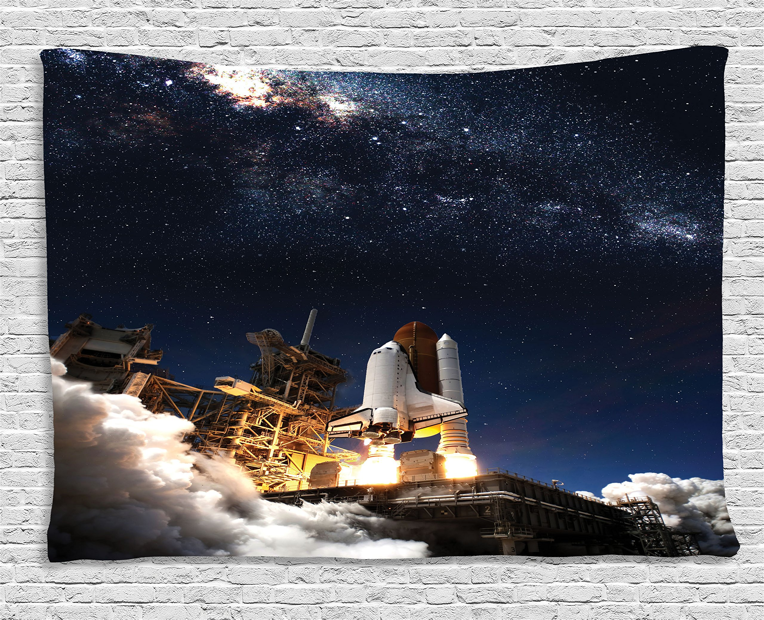 Ambesonne Galaxy Tapestry Wall Hanging, Space Shuttle on Take Off Discovery Mission to Explore Galaxy Spaceship Solar Adventure, Bedroom Living Room Dorm Decor, 60 W X 40 L inches, Blue White