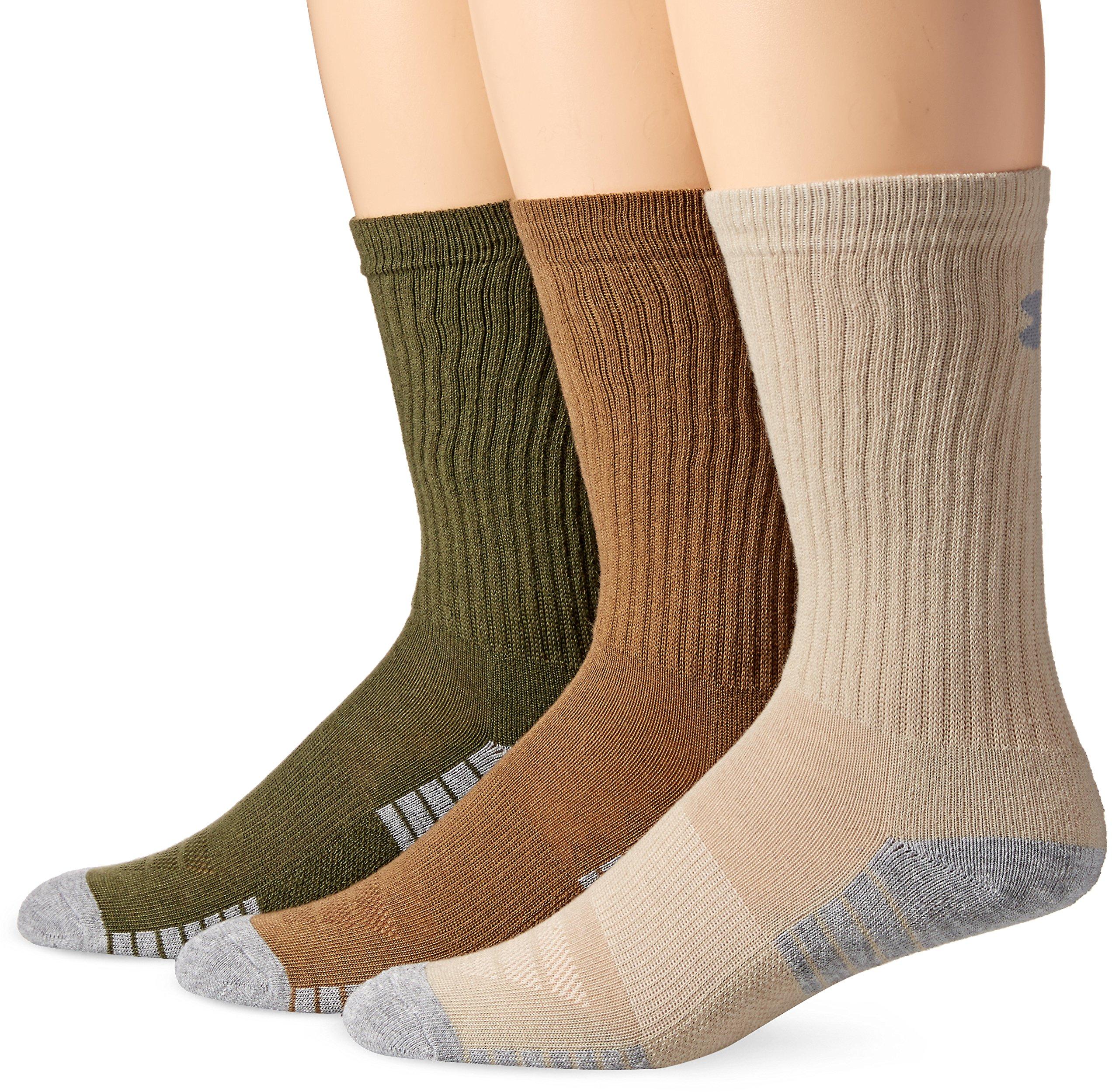 Under Armour Men's Heatgear Tech Crew Socks, Coyote Brown Assortment, Medium (3 Pair Pack) by Under Armour
