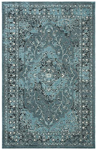 Safavieh Palazzo Collection PAL128-56C4 Turquoise and Black Area Rug, 4 x 6