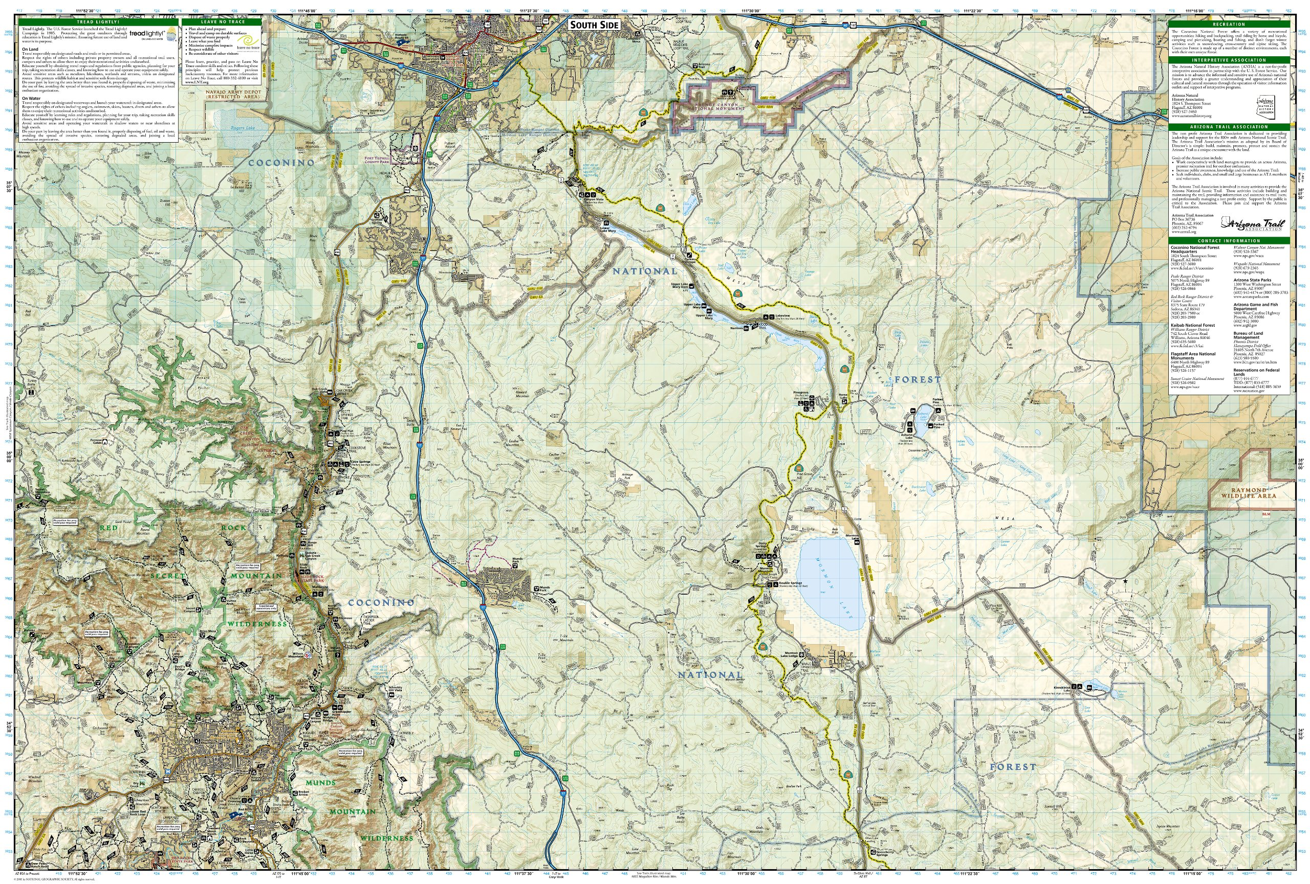 FlagstaffSedona Coconino National Forest Trails Illustrated Map