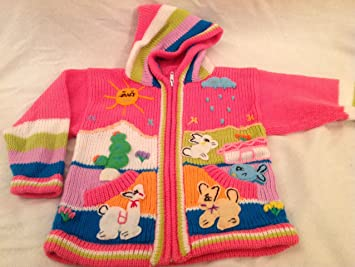 Amazoncom Children Wool Hand Knitted Pink Sweater In 3 D Designs