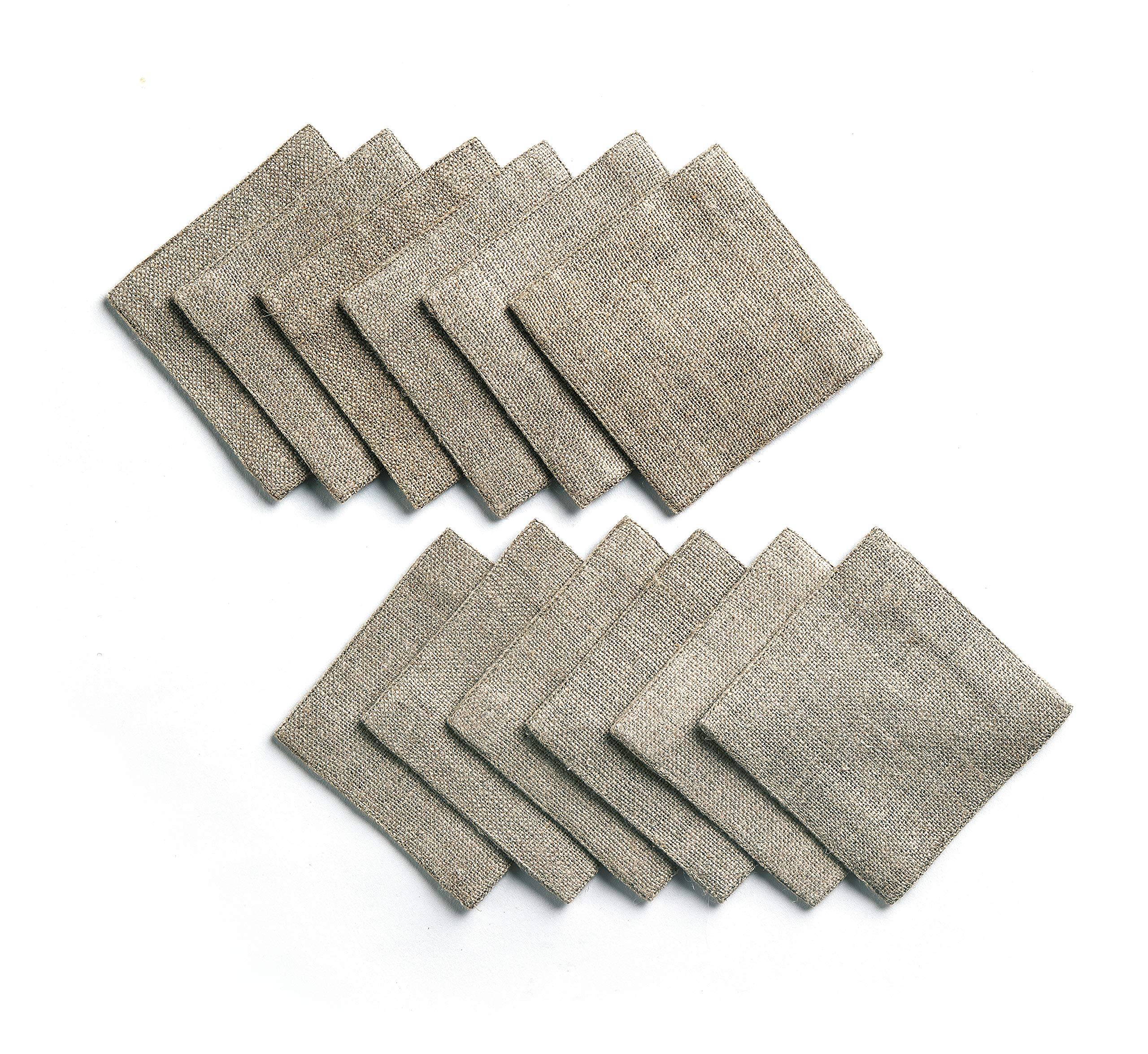 Solino Home Rustic Linen Coasters - 4 x 4 Inch, Set of 12 Handwoven and Handcrafted - Natura Collection, Dark Soil Coaster