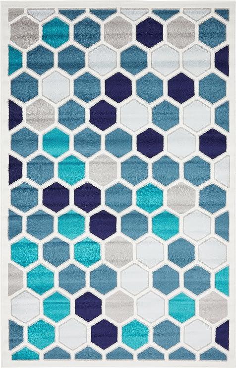 Unique Loom Metro Collection Abstract Geometric Hexagon Cream Area Rug (5' 0 X 8' 0) by Unique Loom