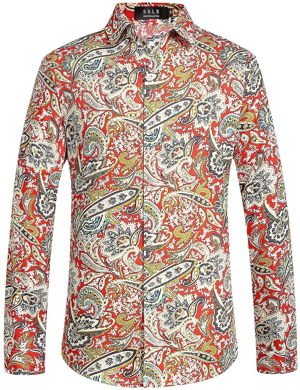 SSLR Men's Paisley Cotton Long Sleeve Casual Button Down Shirt SN-35-PELE-XI25
