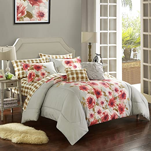 Carnation Path Queen Casa WK680076 Reversible Bed in A Bag Comforter Set