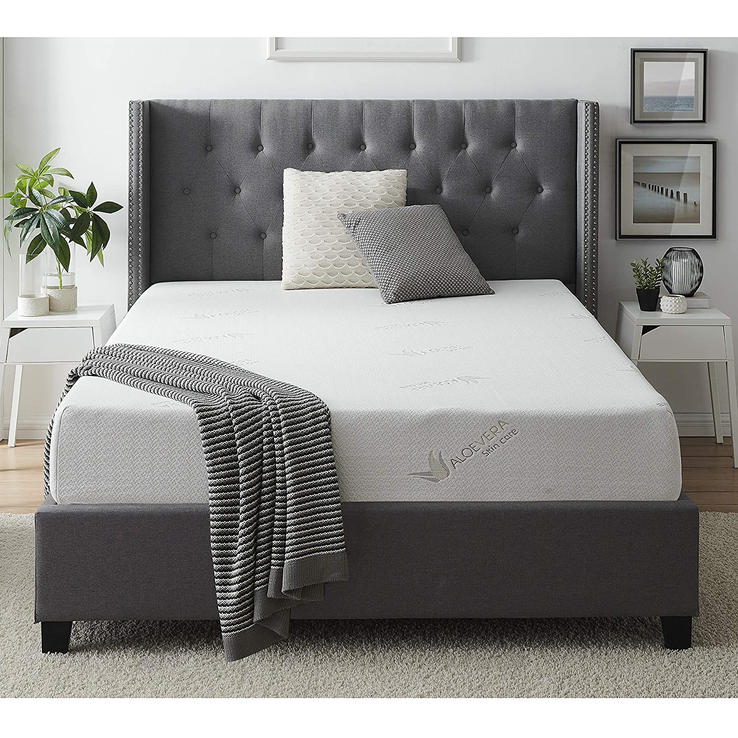 Amazon.com: AC Pacific Soft Aloe Collection 8 Inch Luxury Soft Bedroom Aloe Vera Extract Infused Fabric Covered Memory Foam Mattress, Full Size: Kitchen & ...