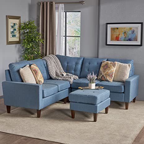 Niya Mid Century Modern Blue 4 Piece Sectional Sofa With Ottoman