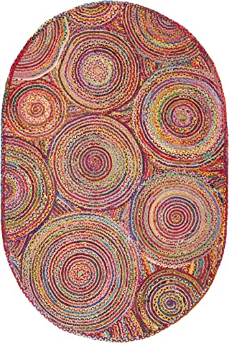 Safavieh Cape Cod Collection CAP203A Handmade Red and Multicolored Jute Oval Area Rug 6 x 9