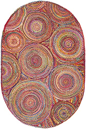 Safavieh Cape Cod Collection CAP203A Handmade Red and Multicolored Jute Oval Area Rug 3 x 5