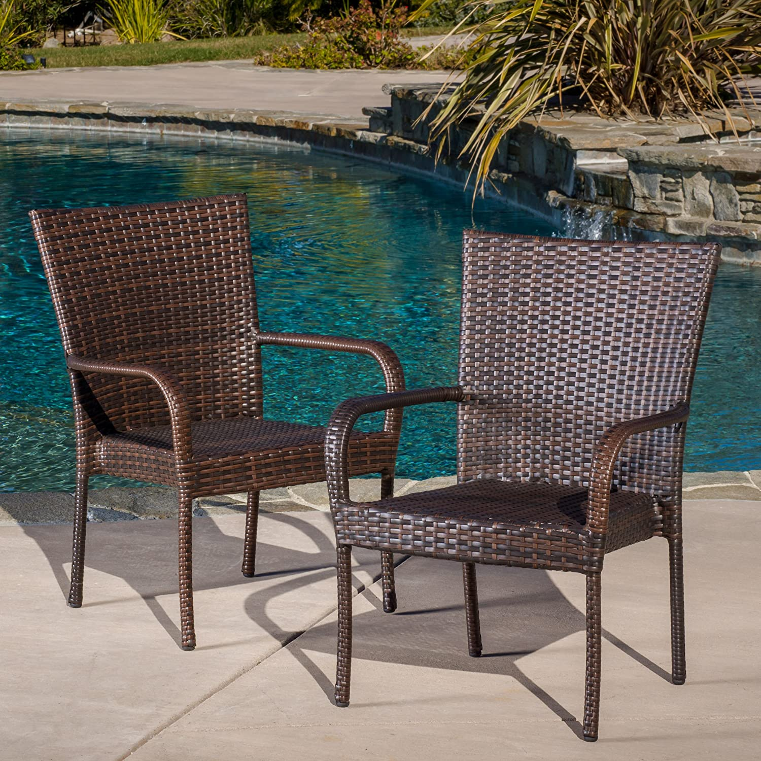 Christopher Knight Home 278771 Stackable Outdoor Contemporary Wicker Stacking Chairs Set of 2 , Multi-Brown