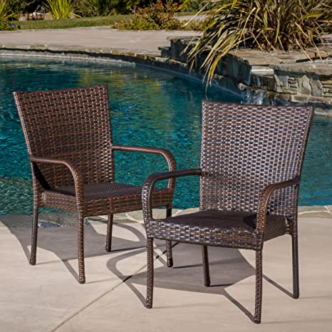 Magnificent Christopher Knight Home 278771 Set Of 2 Stackable Outdoor Brown Wicker Dining Chairs Pabps2019 Chair Design Images Pabps2019Com