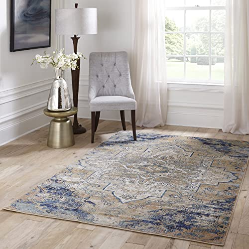 Momeni Rugs Amelia Collection Traditional Area Rug, 2 x 3 , Navy Blue
