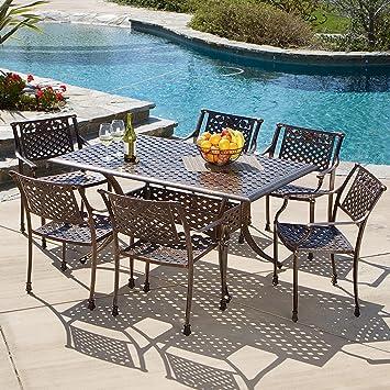 Sierra Patio Furniture ~ 7 Piece Cast Aluminum Outdoor Dining Set Part 66