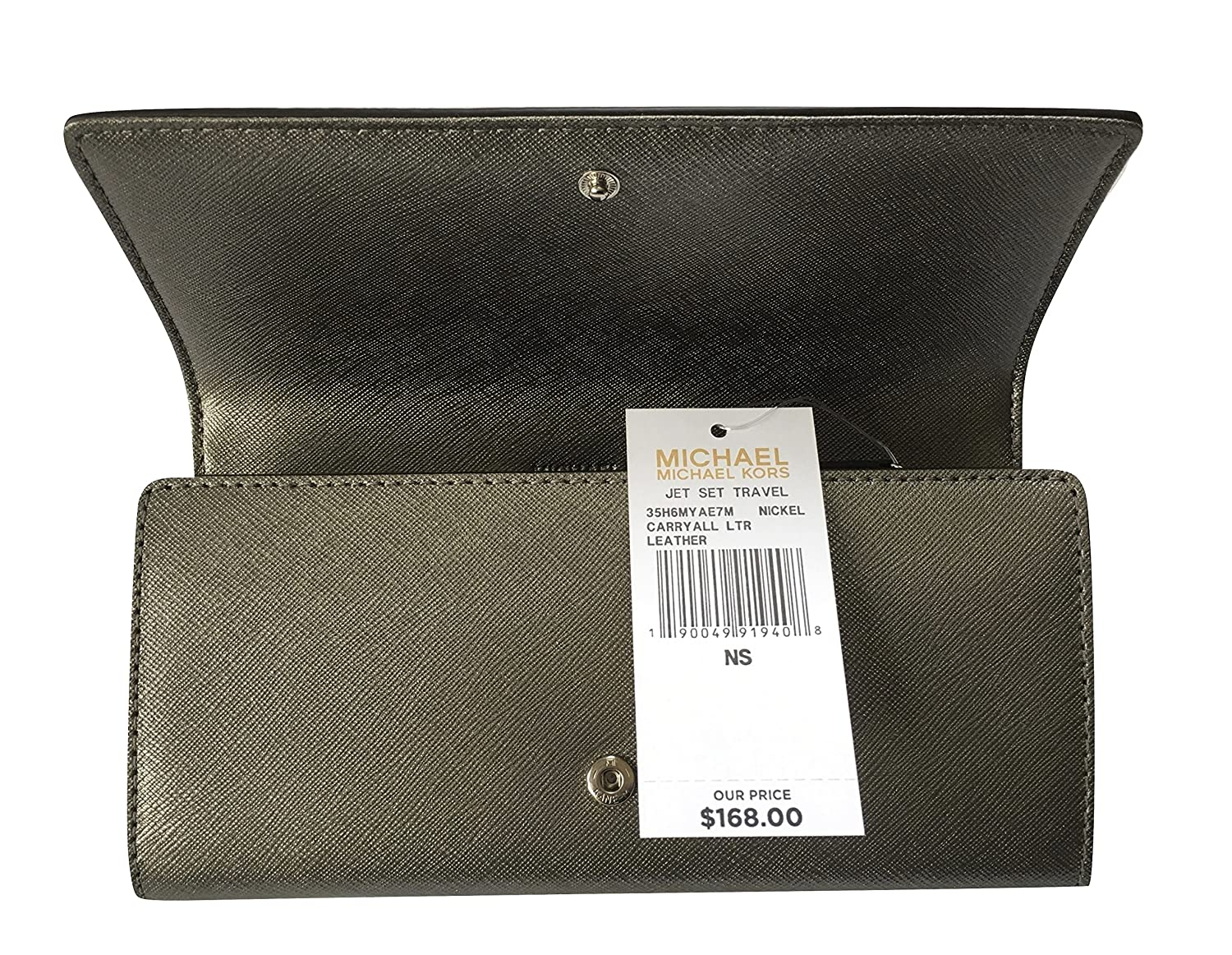 4a6bf3a1edb3 Amazon.com: Michael Kors Jet Set Travel Saffiano Leather Carryall Wallet ( Nickel): Shoes