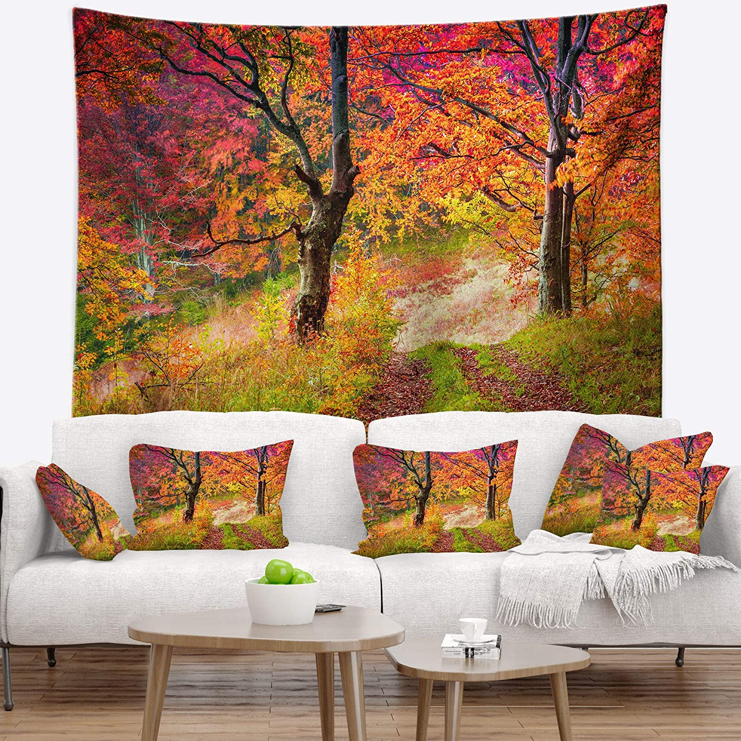 39 in x 32 in Created On Lightweight Polyester Fabric Designart TAP14602-39-32  Bright Colorful Fall Trees in Forest Landscape Blanket D/écor Art for Home and Office Wall Tapestry Medium