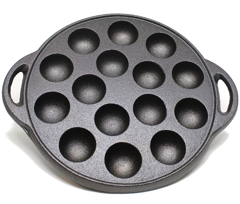Kasian House Cast Iron Griddle for Making Poffertjes Pancake Balls, Takoyaki, and Thai Kanom Krok and Other Desserts, 1.5 Dia Half Sphere Molds, Preseasoned