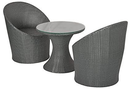 FurniFuture™ Dome Outdoor Patio Furniture Set 2+1 - (Black and White)